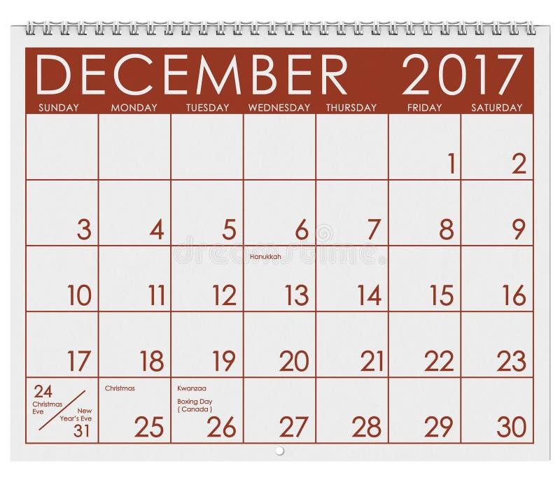 2017: Tijdschema: Maand van December met Kerstmisvakantie stock illustratie