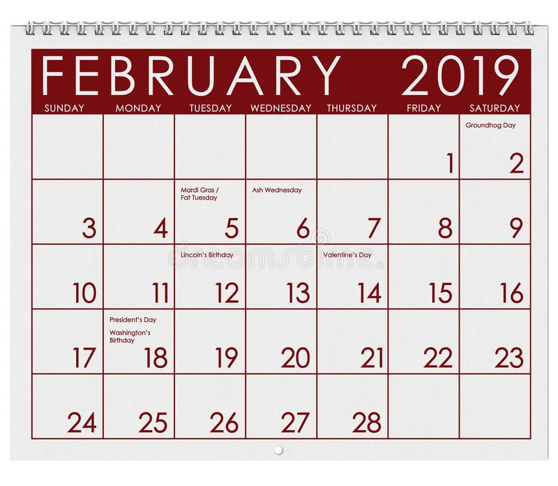 2019: Tijdschema: Maand van Februari royalty-vrije illustratie