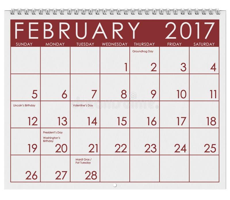 2017: Tijdschema: Maand van Februari met de Dag van Valentine ` s vector illustratie