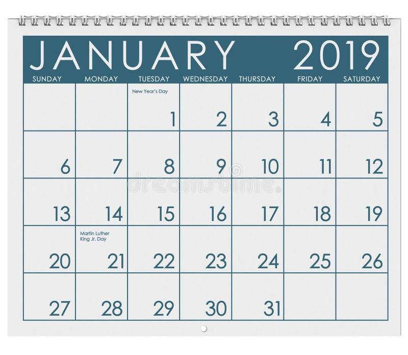 2019: Tijdschema: Maand van Januari stock illustratie