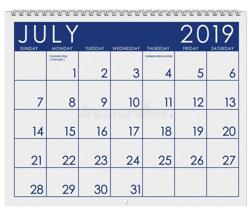 2019: Tijdschema: Maand van Juli royalty-vrije illustratie