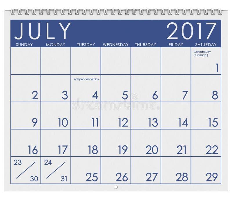 2017: Tijdschema: Maand van Juli met Vakantie vector illustratie