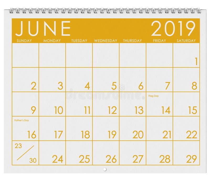 2019: Tijdschema: Maand van Juni royalty-vrije illustratie