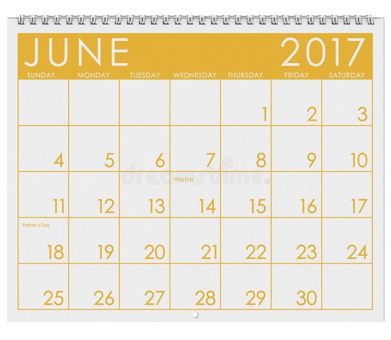 2017: Tijdschema: Maand van Juni met Vader` s Dag royalty-vrije illustratie