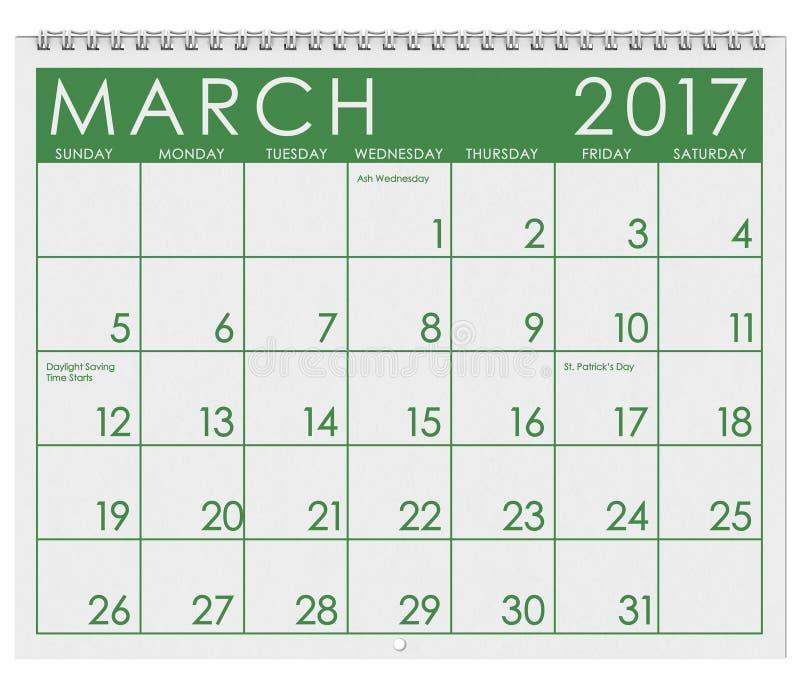 2017: Tijdschema: Maand van Maart met St Patrick ` s Dag vector illustratie