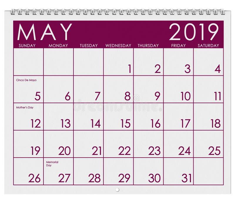 2019: Tijdschema: Maand van Mei vector illustratie