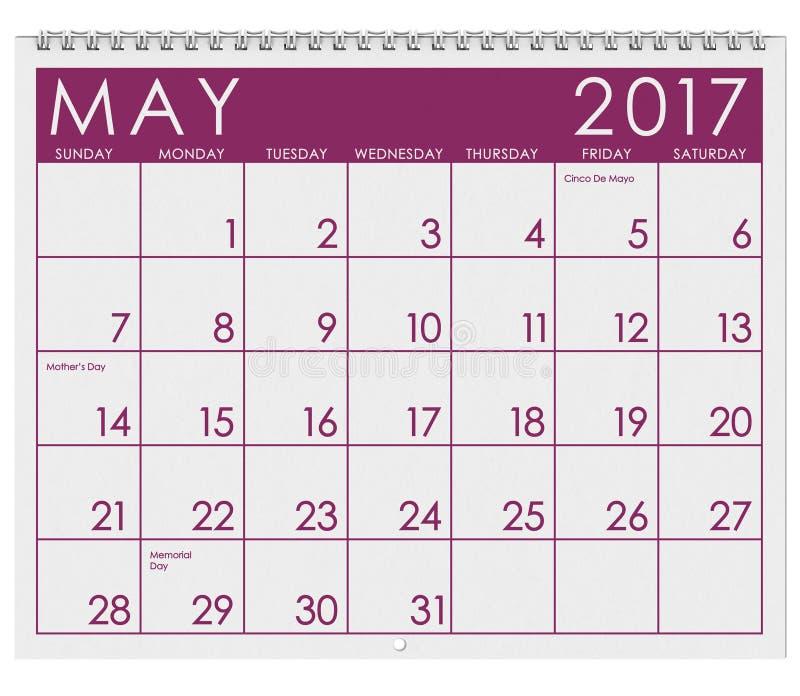 2017: Tijdschema: Maand van Mei vector illustratie