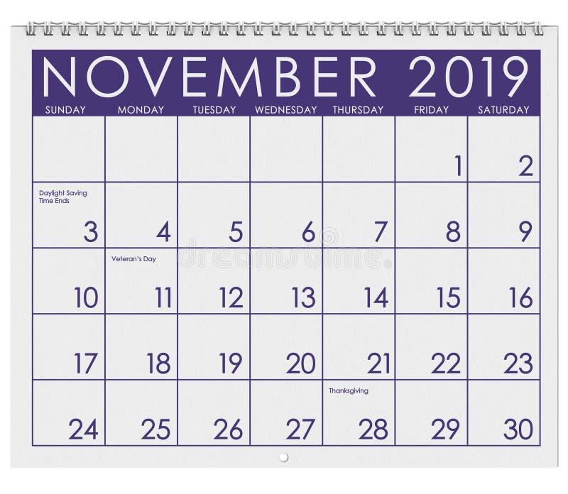 2019: Tijdschema: Maand van November stock illustratie