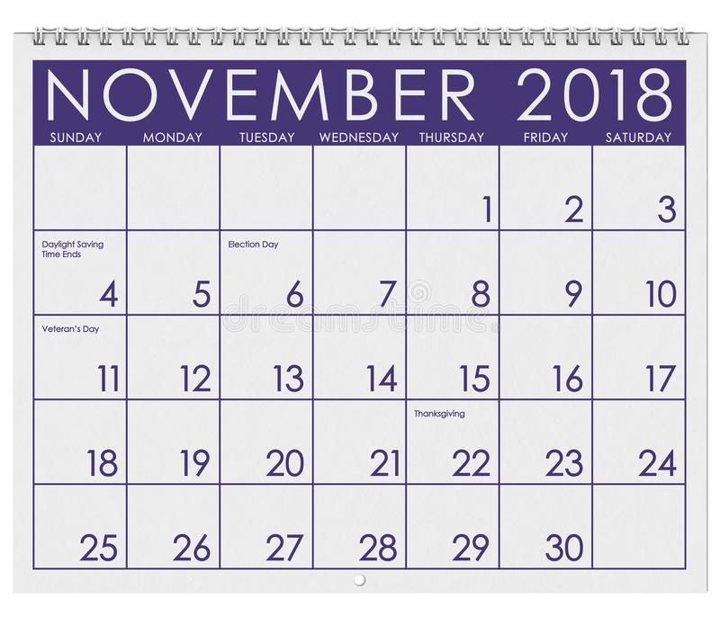 2018: Tijdschema: Maand van November met Dankzegging stock illustratie