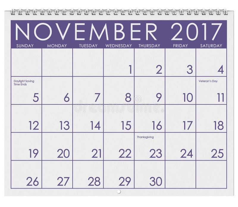 2017: Tijdschema: Maand van November met Dankzegging, stock illustratie