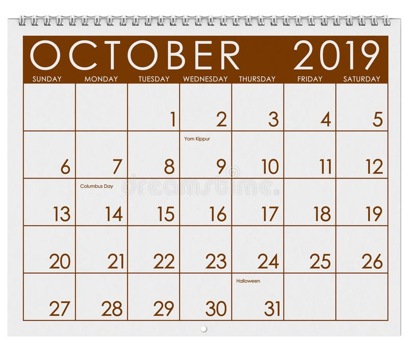 2019: Tijdschema: Maand van Oktober vector illustratie