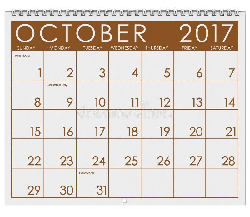 2017: Tijdschema: Maand van Oktober met Halloween stock illustratie