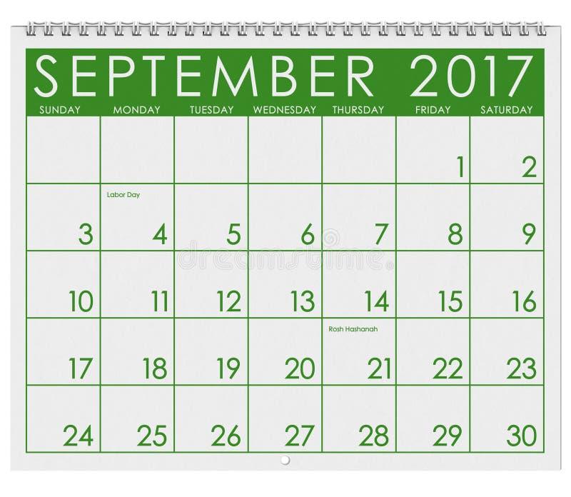 2017: Tijdschema: Maand van September met Dag van de Arbeid vector illustratie