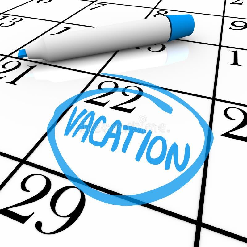 Tijdschema - Omcirkelde de Dag van de Vakantie vector illustratie