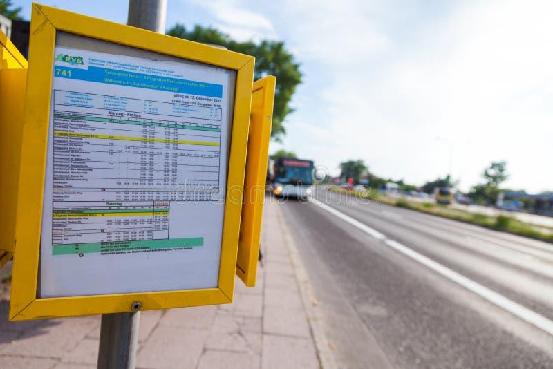 Tijdschema van Duits regionaal vervoerbedrijf stock afbeelding
