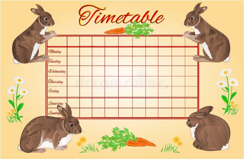 Tijdschema wekelijks programma met konijnenvector vector illustratie