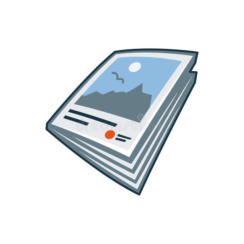 Tijdschrift of brochurepictogram in beeldverhaalstijl vector illustratie