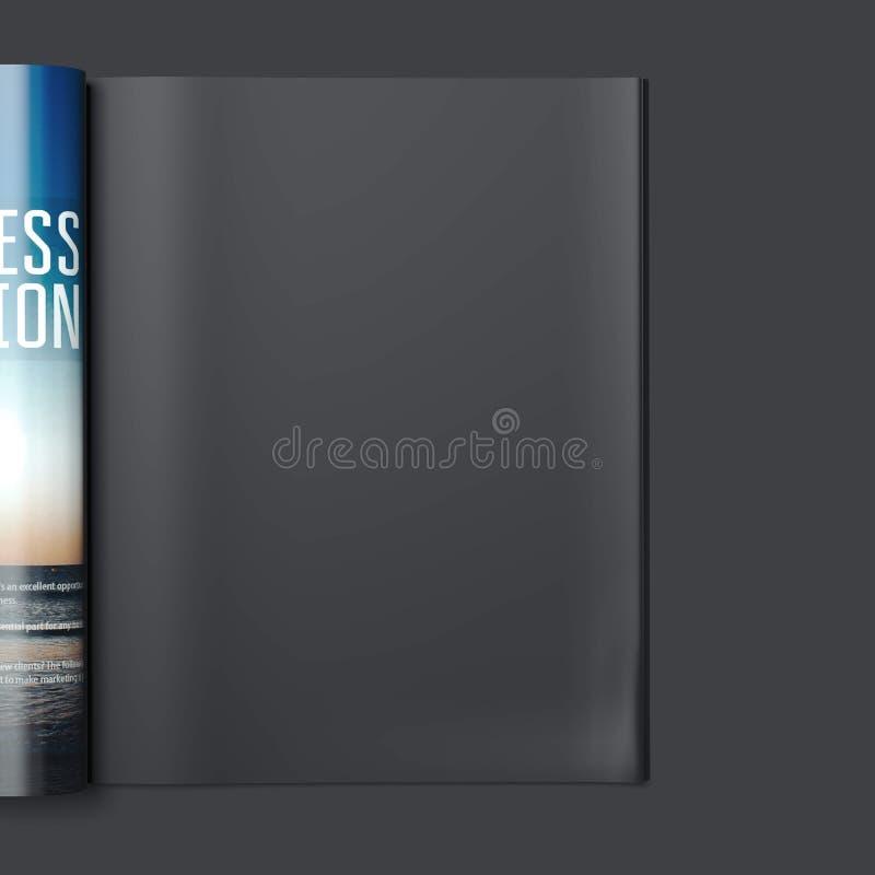 Tijdschrift met lege zwarte pagina het 3d teruggeven royalty-vrije illustratie