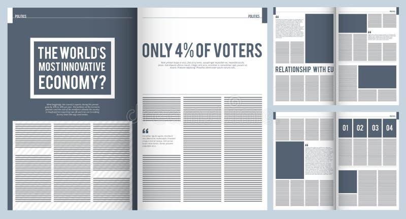 Tijdschriftlay-out Modelmalplaatje van het moderne ontwerp van de de brochuredekking van de tijdschriftreclame met plaats voor te stock illustratie
