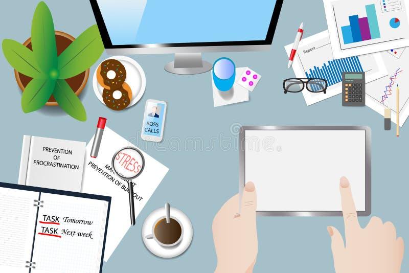Tijdspanning in de vector van het bureauconcept vector illustratie