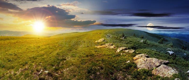 Tijdverandering boven alpien weidenpanorama stock fotografie