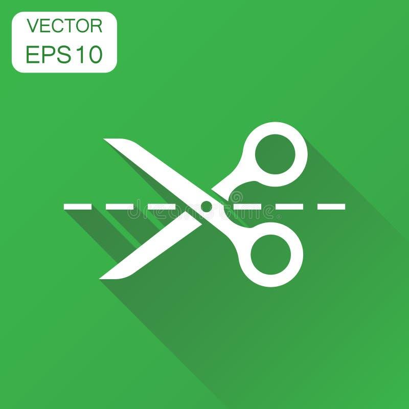 Tijeras con la línea de corte icono El concepto del negocio scissor el pictograma ilustración del vector