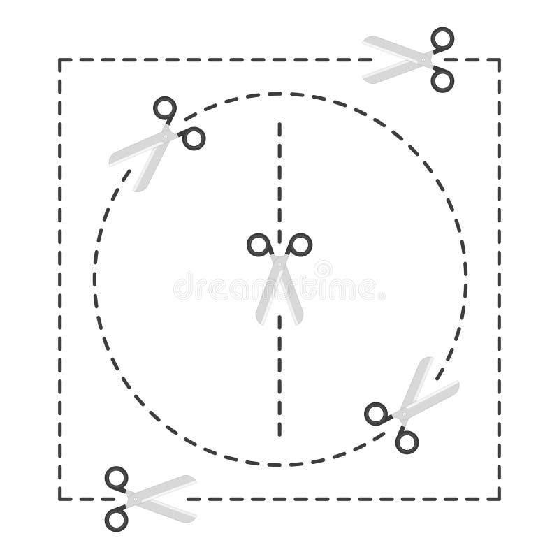 tijeras con las líneas de corte libre illustration