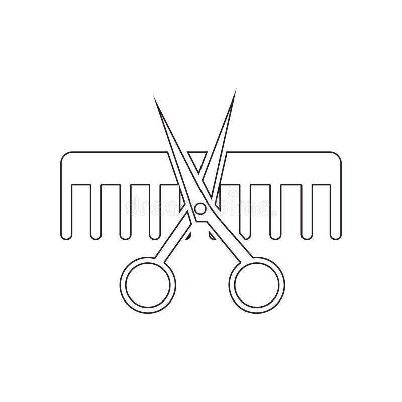 Tijeras e icono del peine Elemento del sal?n de belleza para el concepto y el icono m?viles de los apps de la web Esquema, l?nea  stock de ilustración