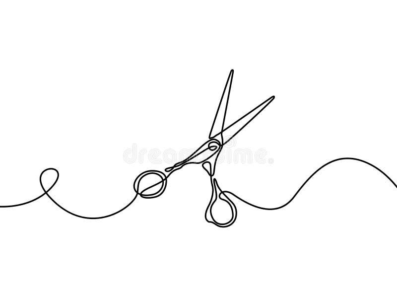 Tijeras Elemento de Desing para la barbería Dibujo lineal continuo Ilustraci?n del vector stock de ilustración