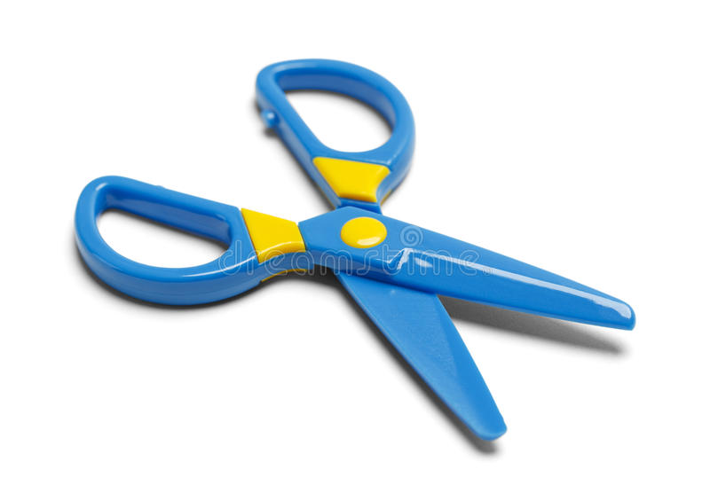Tijeras plásticas azules imágenes de archivo libres de regalías