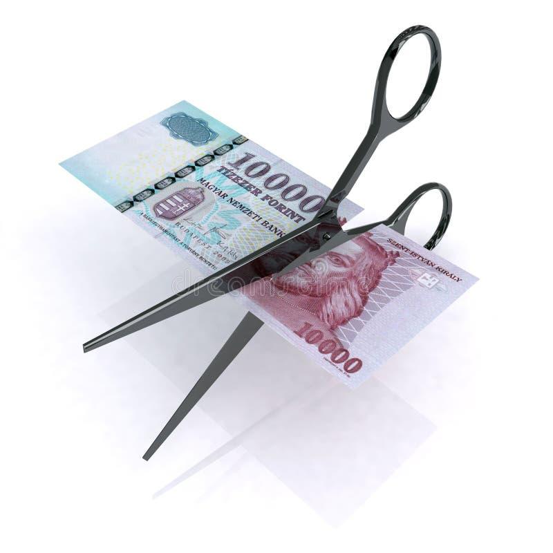 Tijeras que cortan el forint del HUF ilustración del vector