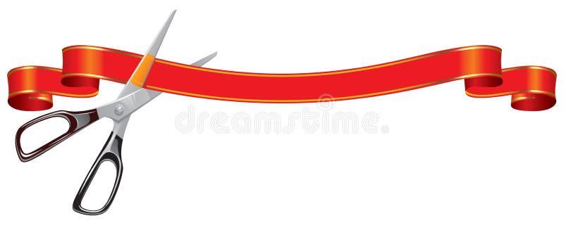 Tijeras que cortan la bandera stock de ilustración