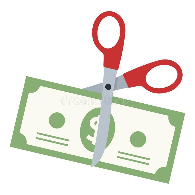 Tijeras que cortan un icono plano del billete de banco del dólar libre illustration