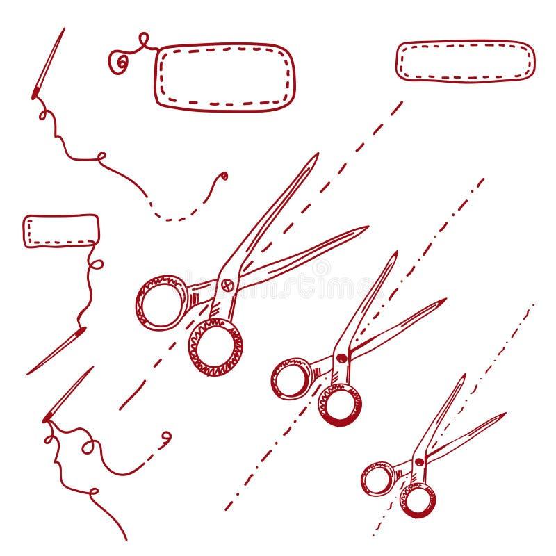 Tijeras y doodle de las agujas libre illustration