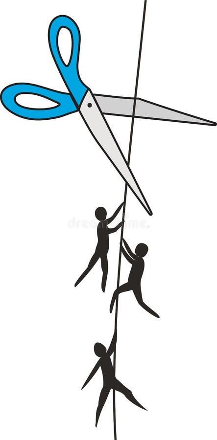 Tijeras y gente en una cuerda ilustración del vector