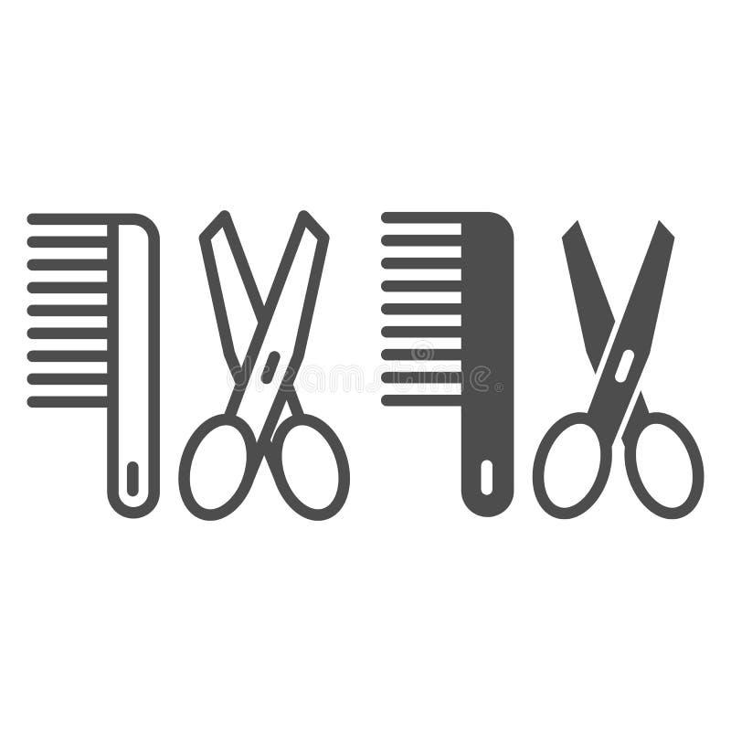 Tijeras y línea del peine e icono del glyph Ejemplo del vector del peluquero aislado en blanco Diseño del estilo del esquema de l libre illustration