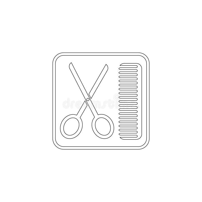 Tijeras y peine Icono plano del vector libre illustration