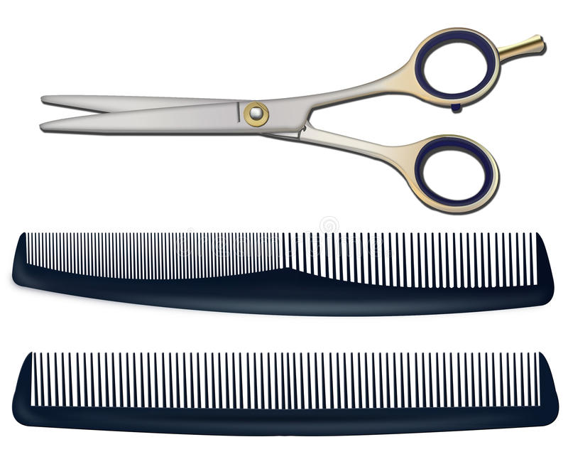 tijeras y peines para cortar el pelo en un backgrou blanco stock de ilustración