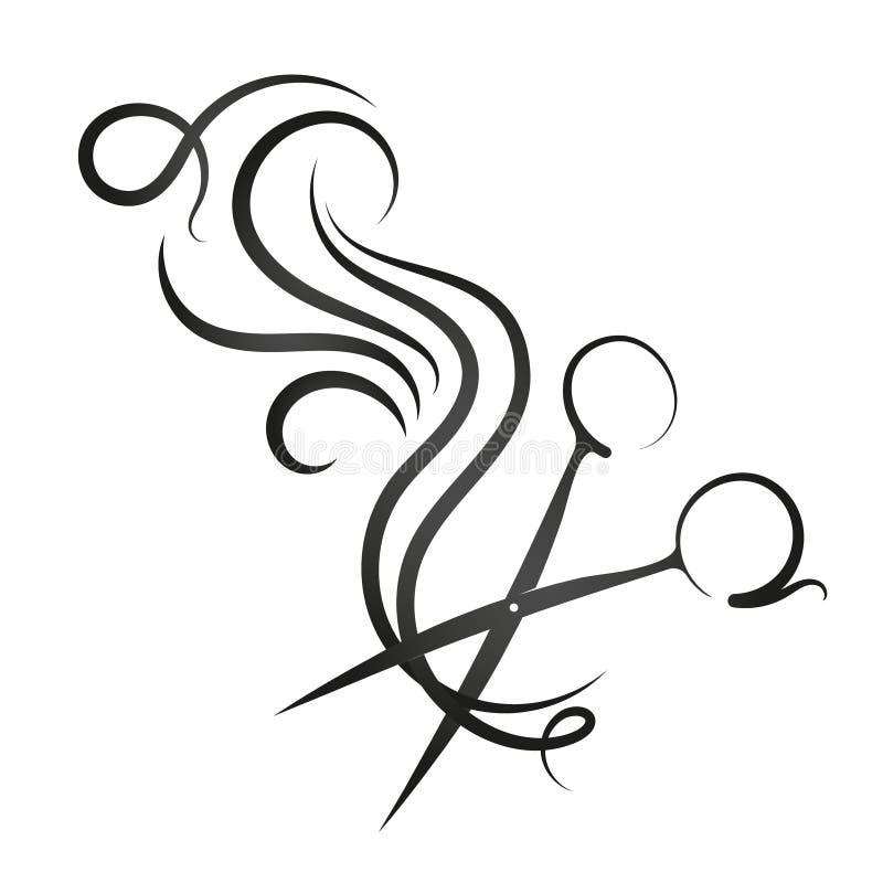 Tijeras y rizo del pelo stock de ilustración