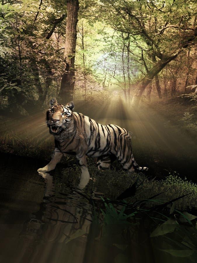 Tijger binnen het bos bij zonsopgang vector illustratie