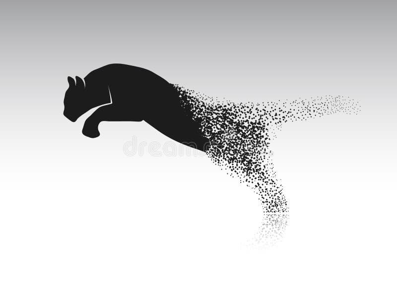 Tijger die van de gedesintegreerde stukken springen vector illustratie
