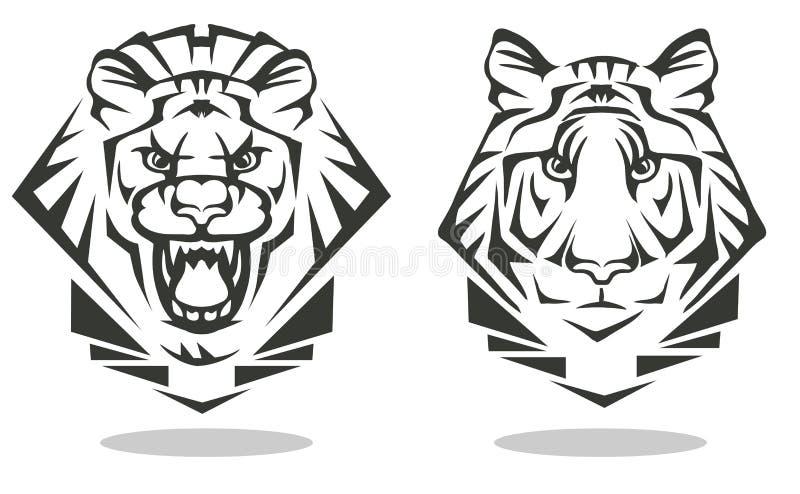 Tijger en leeuw stock illustratie
