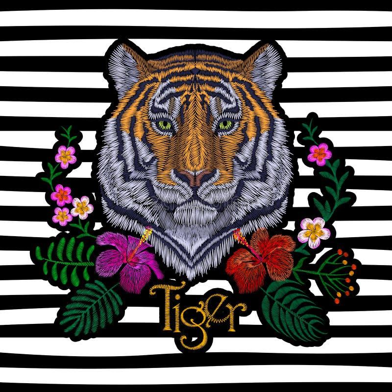Tijger hoofd tropische bloem Het flardsticker van het vooraanzichtborduurwerk De oranje gestreepte zwarte wilde dierlijke textiel vector illustratie