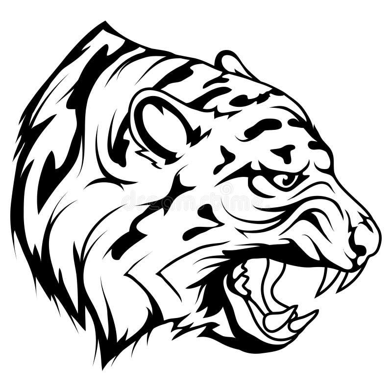Tijger hoofd vectortekening, de tekeningsschets van het tijgergezicht, tijgerhoofd in zwart-wit royalty-vrije illustratie