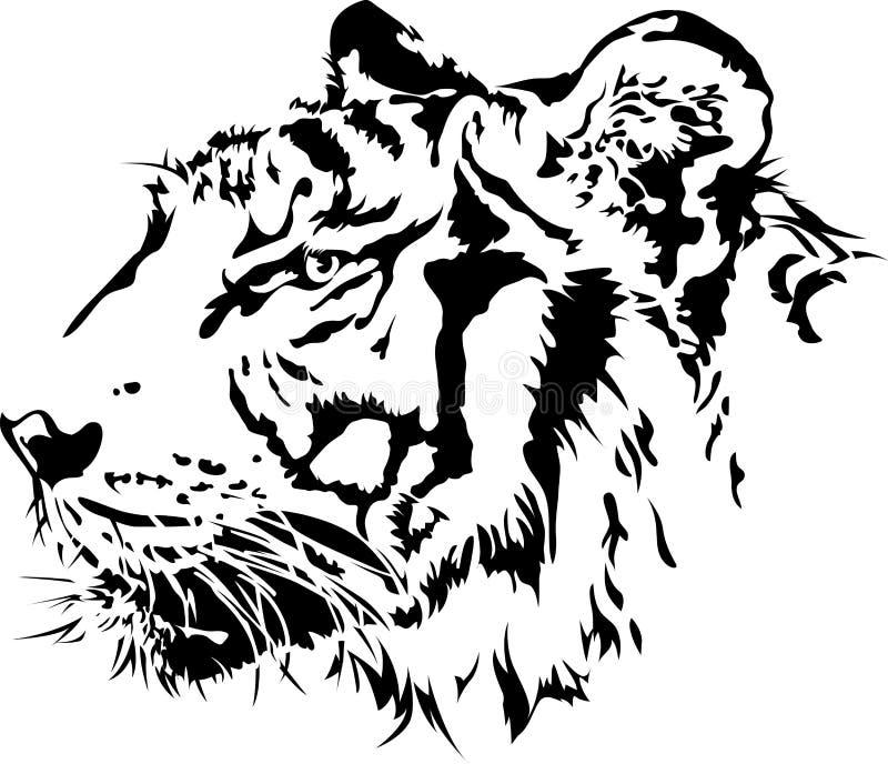Tijger hoofdsilhouet. vector illustratie