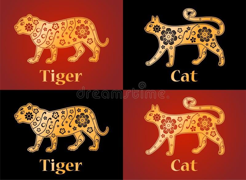 Tijger, kat, symbolen van de Chinese horoscoop 2022, 2023 jaar royalty-vrije illustratie