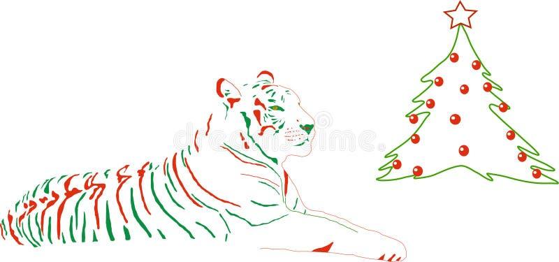 Tijger omhoog gekleed voor Kerstmis royalty-vrije illustratie