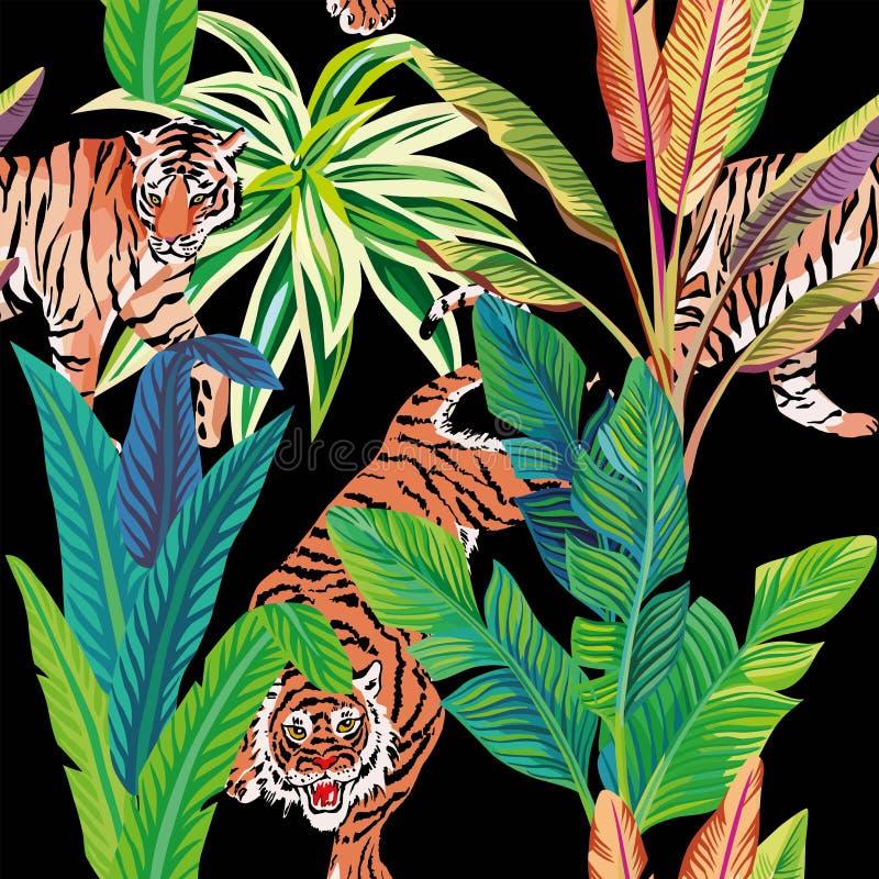 Tijger op de tropische wildernis zwarte achtergrond royalty-vrije illustratie