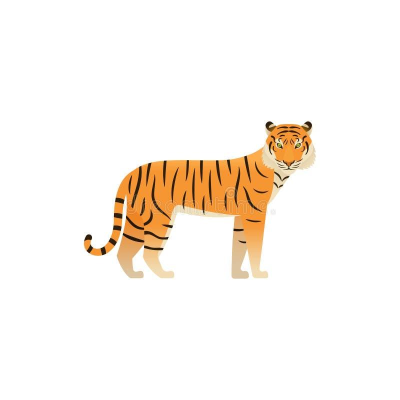 Tijger in vlak ontwerp Vector illustratie Wild Dier royalty-vrije illustratie