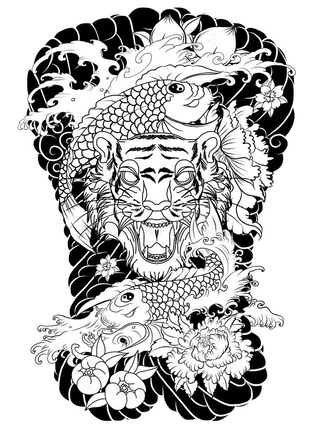Tijgergezicht met koidraak op wolkenachtergrond Koivissen met tijger gebrultatoegering perzik met pioen en pruimbloem op wolk bac royalty-vrije illustratie